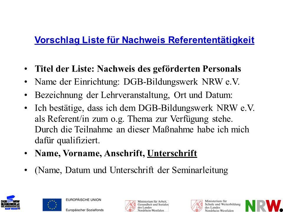 Vorschlag Liste für Nachweis Referententätigkeit