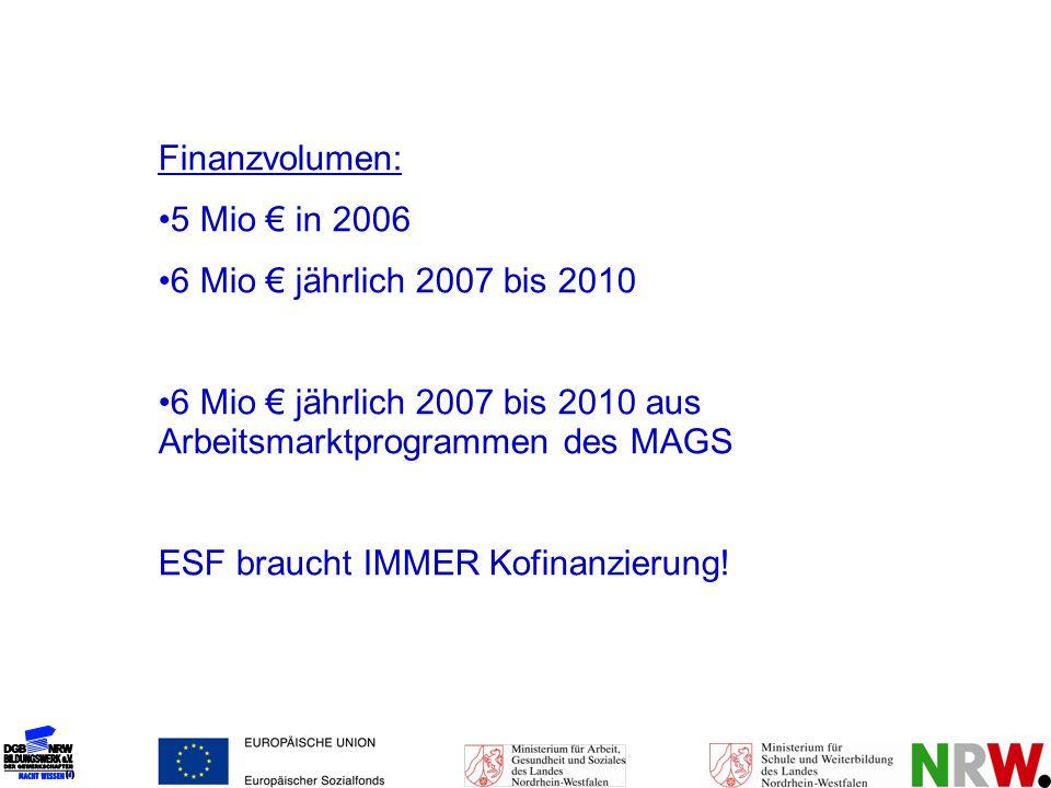 Finanzvolumen: 5 Mio € in 2006. 6 Mio € jährlich 2007 bis 2010. 6 Mio € jährlich 2007 bis 2010 aus Arbeitsmarktprogrammen des MAGS.