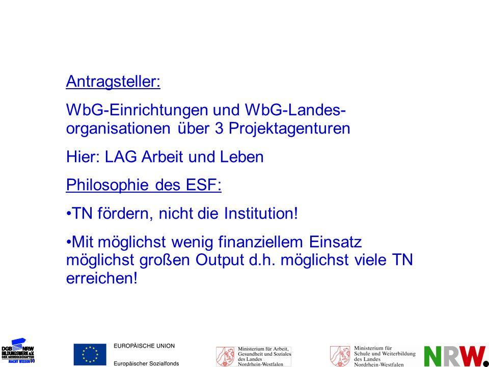 Antragsteller: WbG-Einrichtungen und WbG-Landes- organisationen über 3 Projektagenturen. Hier: LAG Arbeit und Leben.