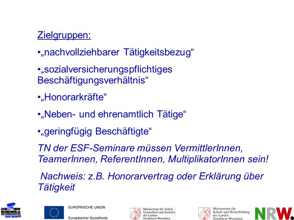 """Zielgruppen: """"nachvollziehbarer Tätigkeitsbezug """"sozialversicherungspflichtiges Beschäftigungsverhältnis"""