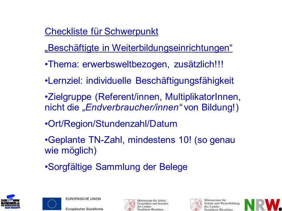 Checkliste für Schwerpunkt