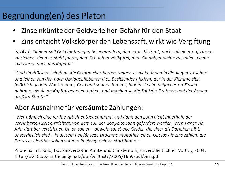 Begründung(en) des Platon