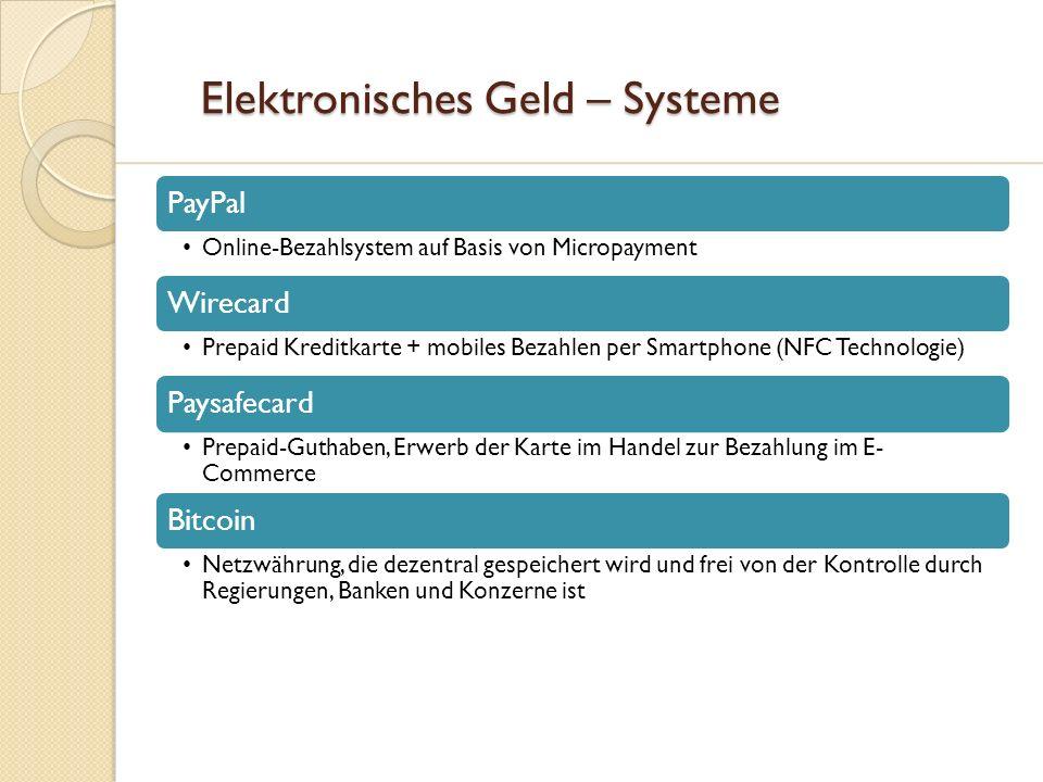 Elektronisches Geld – Systeme