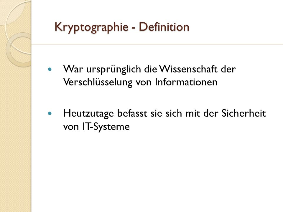 Kryptographie - Definition