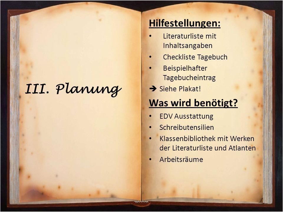 Planung Hilfestellungen: Was wird benötigt