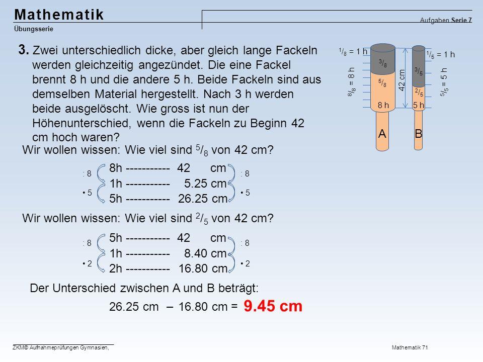 Mathematik Aufgaben Serie 7. Übungsserie.
