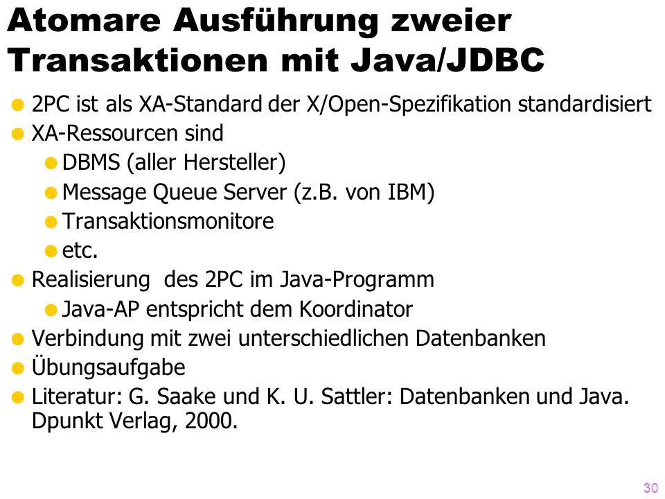 Atomare Ausführung zweier Transaktionen mit Java/JDBC
