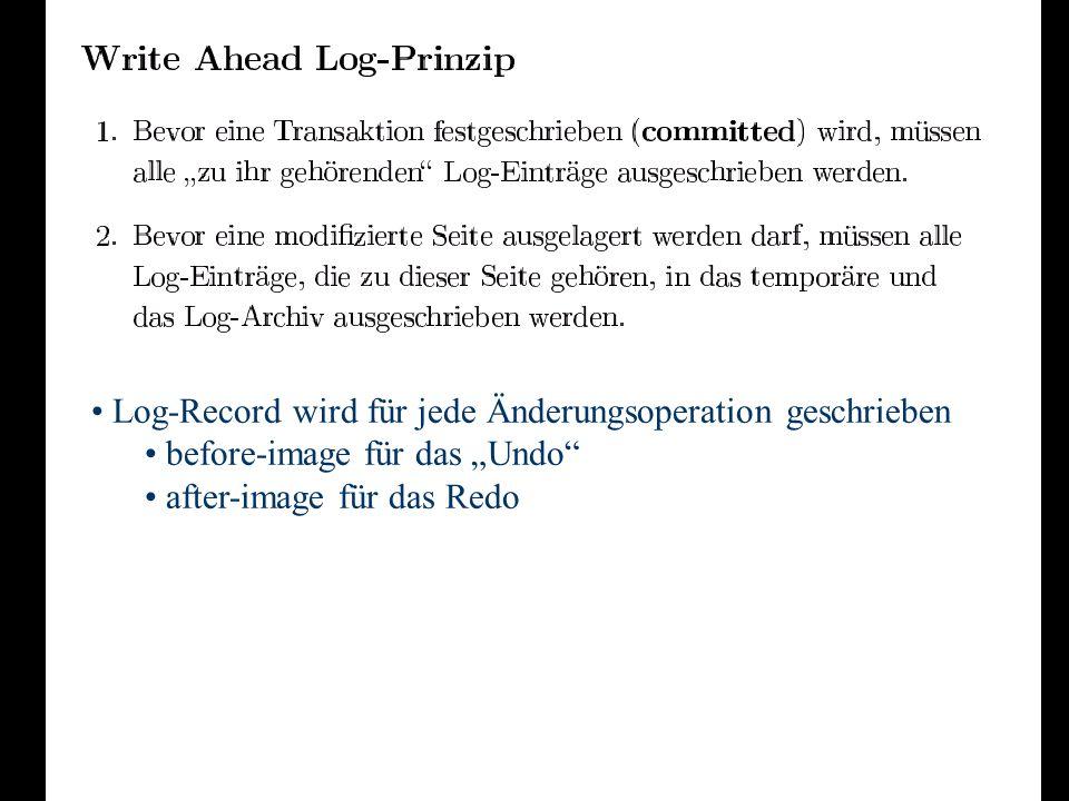 Log-Record wird für jede Änderungsoperation geschrieben