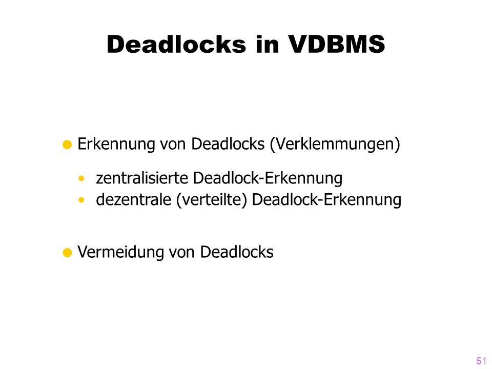 Deadlocks in VDBMS Erkennung von Deadlocks (Verklemmungen)