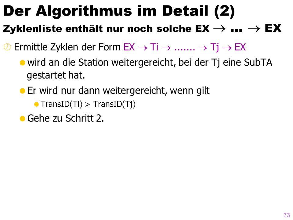 Der Algorithmus im Detail (2) Zyklenliste enthält nur noch solche EX 