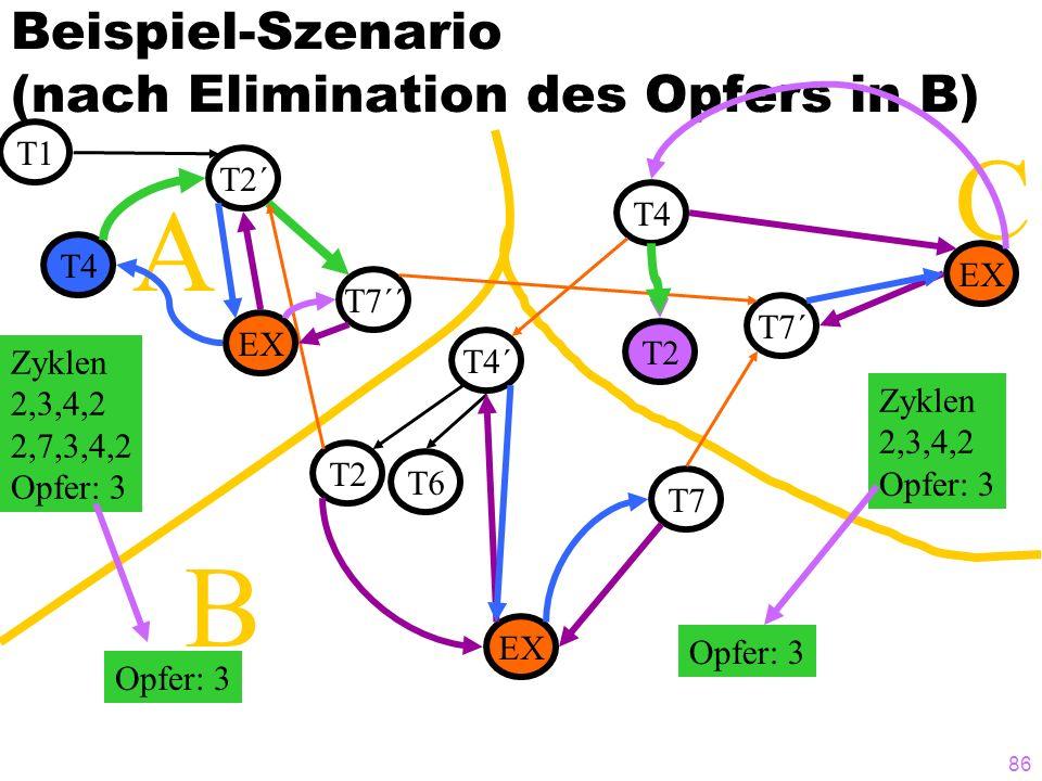 Beispiel-Szenario (nach Elimination des Opfers in B)