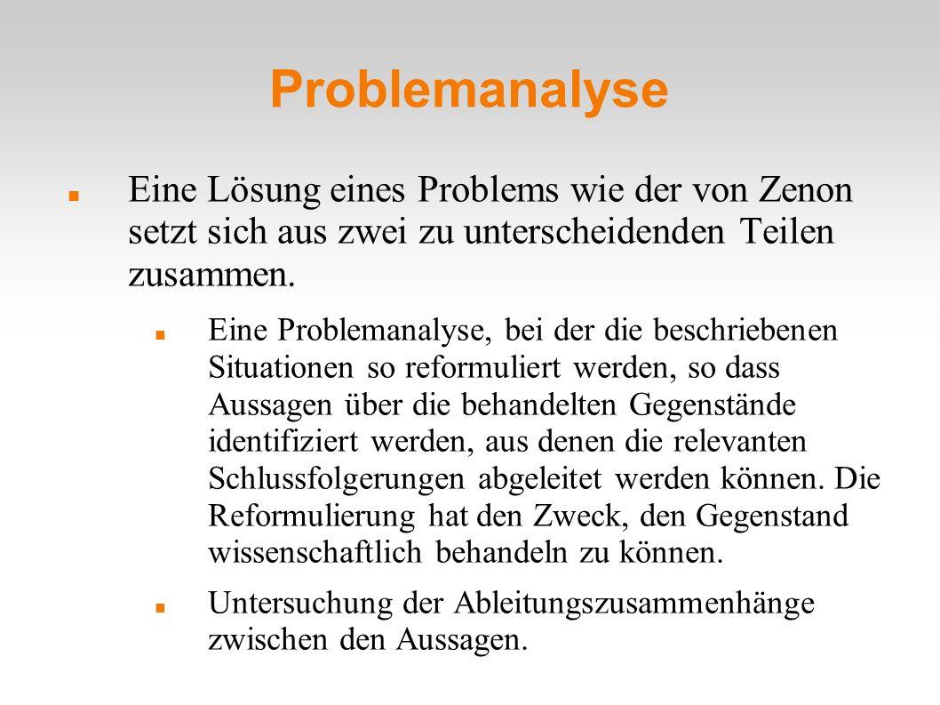 Problemanalyse Eine Lösung eines Problems wie der von Zenon setzt sich aus zwei zu unterscheidenden Teilen zusammen.