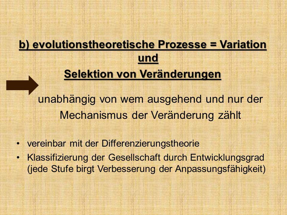 b) evolutionstheoretische Prozesse = Variation und