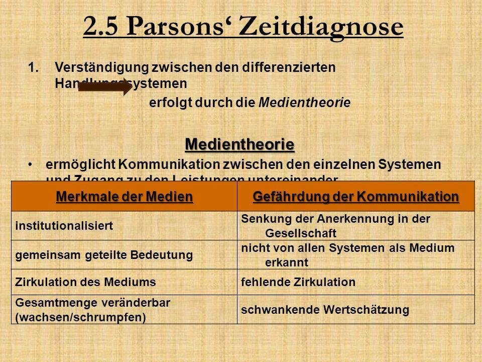 2.5 Parsons' Zeitdiagnose