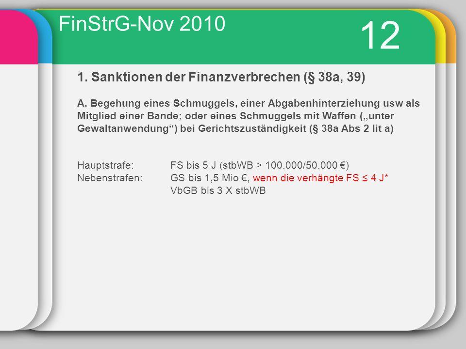12 FinStrG-Nov 2010 1. Sanktionen der Finanzverbrechen (§ 38a, 39)