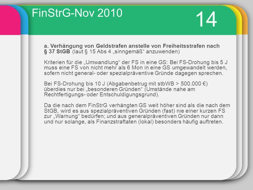 """FinStrG-Nov 2010 14. a. Verhängung von Geldstrafen anstelle von Freiheitsstrafen nach. § 37 StGB (laut § 15 Abs 4 """"sinngemäß anzuwenden)"""