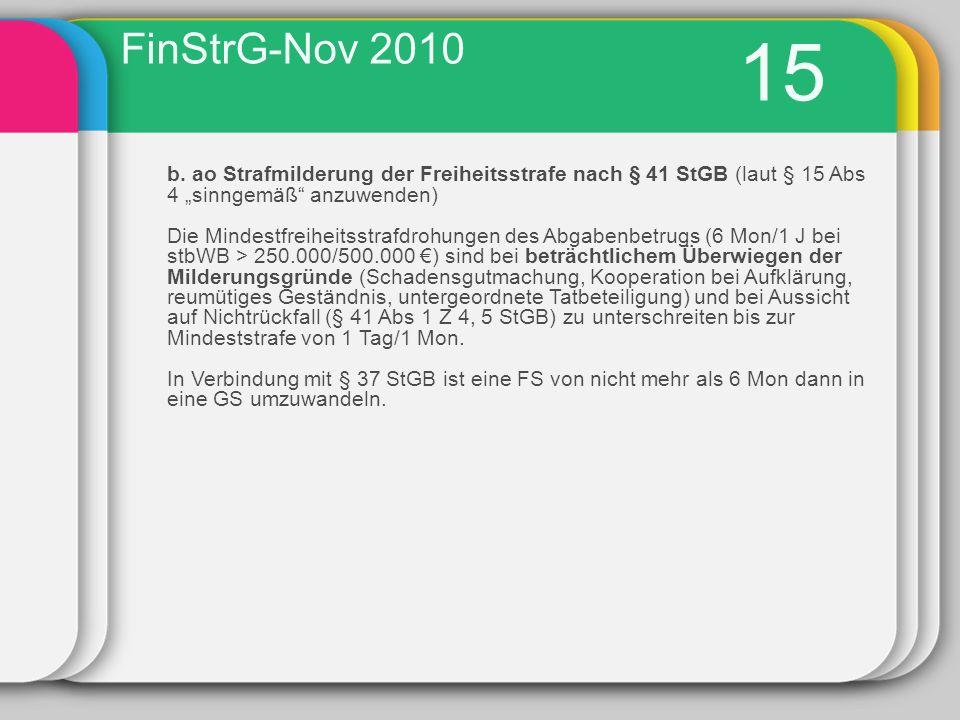 """FinStrG-Nov 2010 15. b. ao Strafmilderung der Freiheitsstrafe nach § 41 StGB (laut § 15 Abs 4 """"sinngemäß anzuwenden)"""