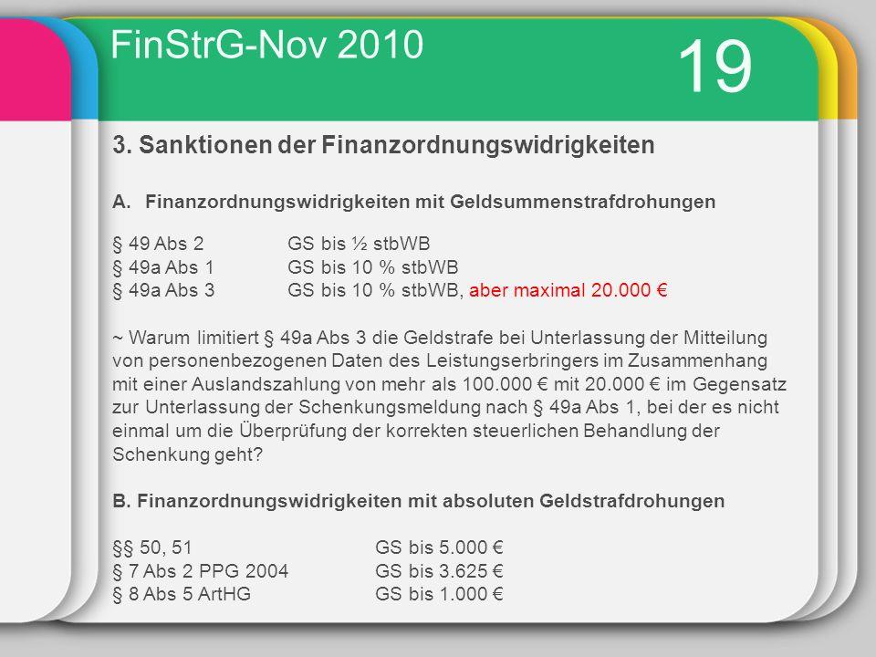 19 FinStrG-Nov 2010 3. Sanktionen der Finanzordnungswidrigkeiten