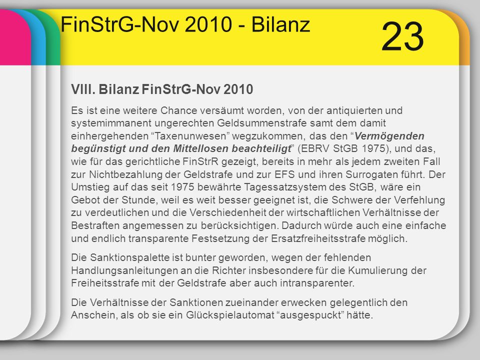 23 FinStrG-Nov 2010 - Bilanz VIII. Bilanz FinStrG-Nov 2010