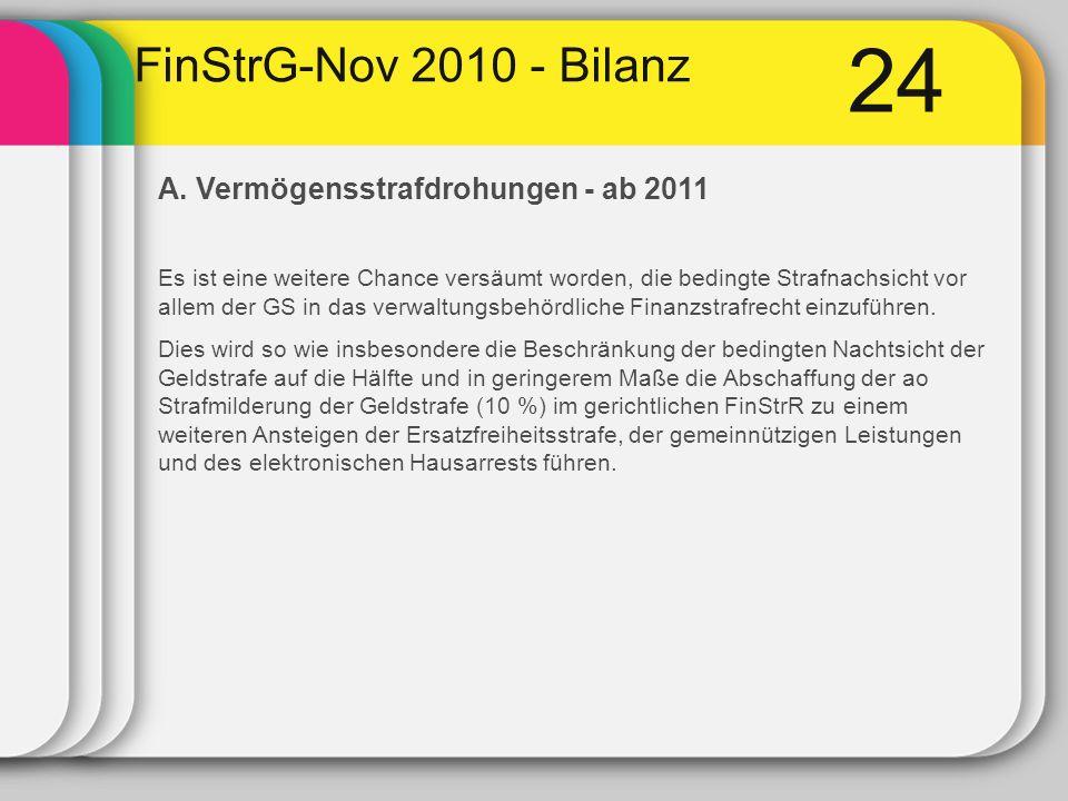 24 FinStrG-Nov 2010 - Bilanz A. Vermögensstrafdrohungen - ab 2011