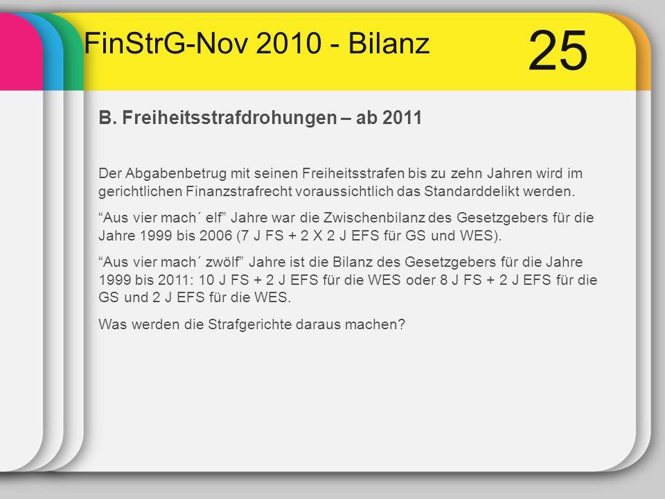 25 FinStrG-Nov 2010 - Bilanz B. Freiheitsstrafdrohungen – ab 2011