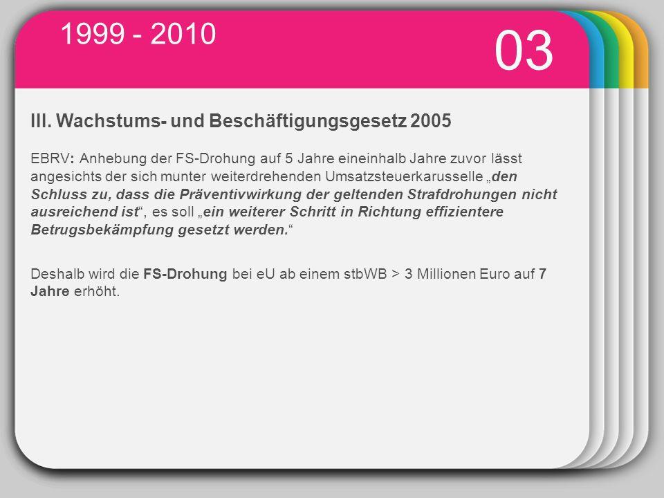 1999 - 2010 03. WINTER. III. Wachstums- und Beschäftigungsgesetz 2005.