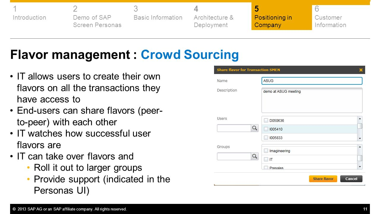 Flavor management : Crowd Sourcing
