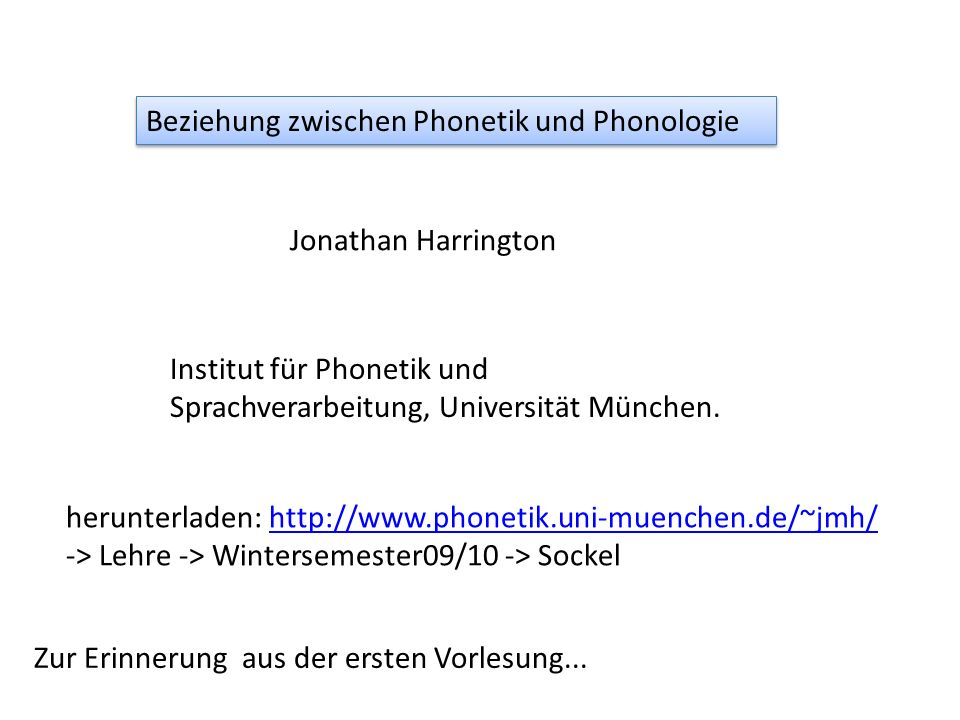 Beziehung zwischen Phonetik und Phonologie