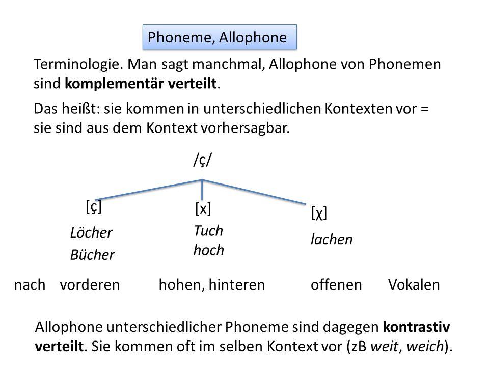 Phoneme, Allophone Terminologie. Man sagt manchmal, Allophone von Phonemen sind komplementär verteilt.