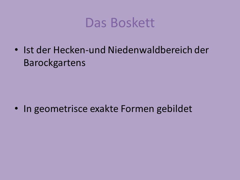 Das Boskett Ist der Hecken-und Niedenwaldbereich der Barockgartens