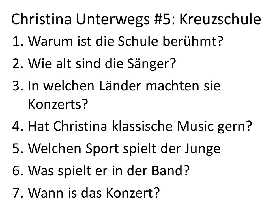 Christina Unterwegs #5: Kreuzschule