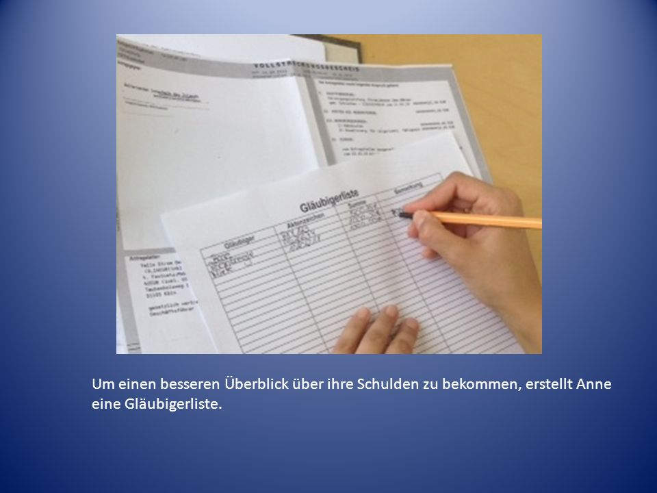 Um einen besseren Überblick über ihre Schulden zu bekommen, erstellt Anne eine Gläubigerliste.