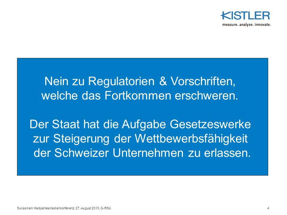 Nein zu Regulatorien & Vorschriften, welche das Fortkommen erschweren.
