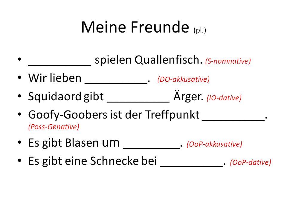 Meine Freunde (pl.) __________ spielen Quallenfisch. (S-nomnative)