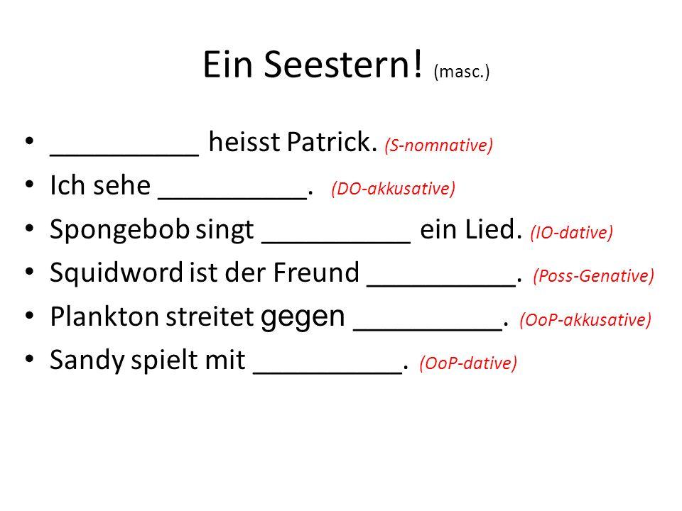 Ein Seestern! (masc.) __________ heisst Patrick. (S-nomnative)