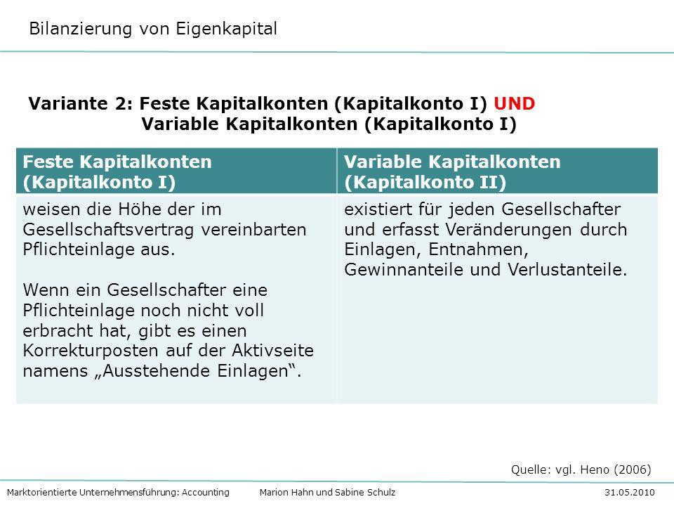 Variante 2: Feste Kapitalkonten (Kapitalkonto I) UND