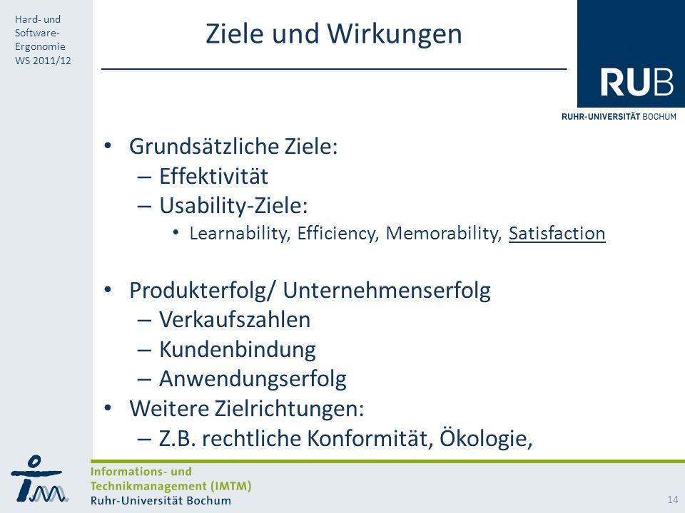 Ziele und Wirkungen Grundsätzliche Ziele: Effektivität