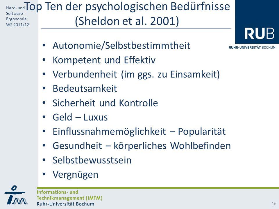Top Ten der psychologischen Bedürfnisse (Sheldon et al. 2001)