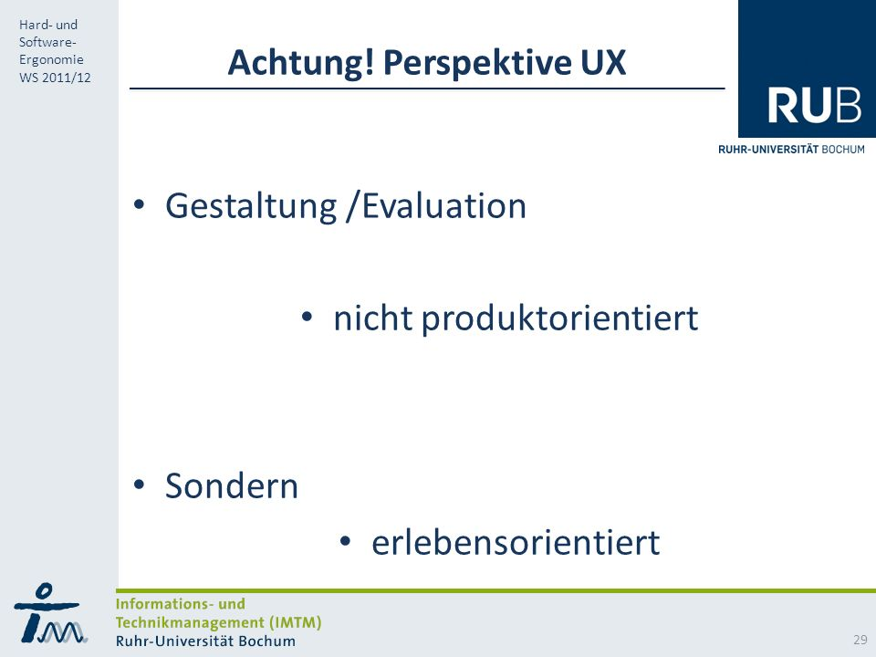Achtung! Perspektive UX