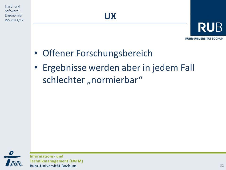 """UX Offener Forschungsbereich Ergebnisse werden aber in jedem Fall schlechter """"normierbar"""