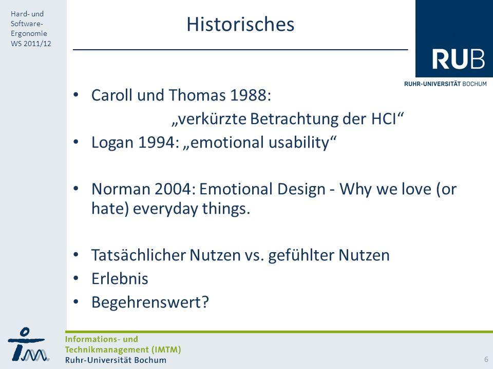 """Historisches Caroll und Thomas 1988: """"verkürzte Betrachtung der HCI"""