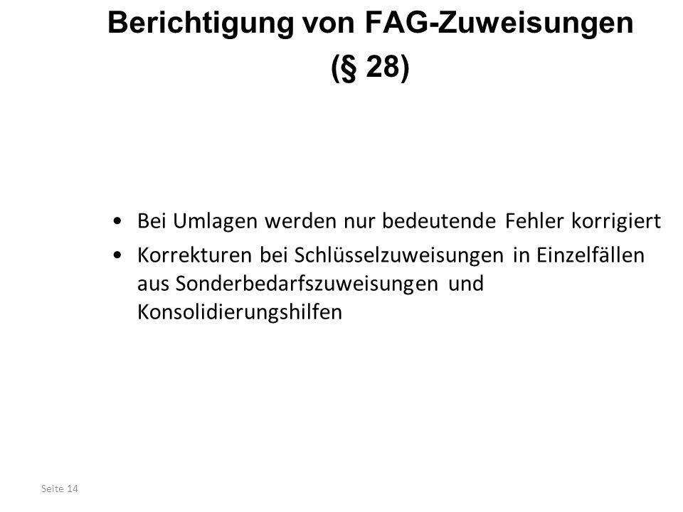 Berichtigung von FAG-Zuweisungen