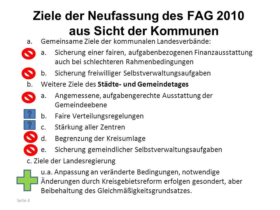 Ziele der Neufassung des FAG 2010 aus Sicht der Kommunen
