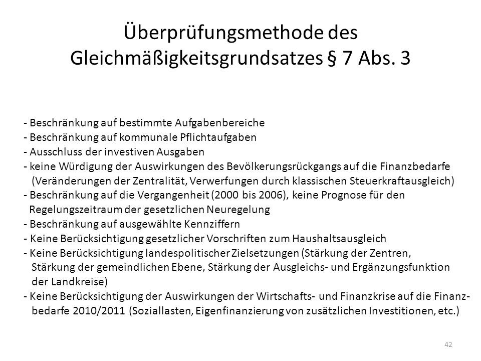 Überprüfungsmethode des Gleichmäßigkeitsgrundsatzes § 7 Abs. 3