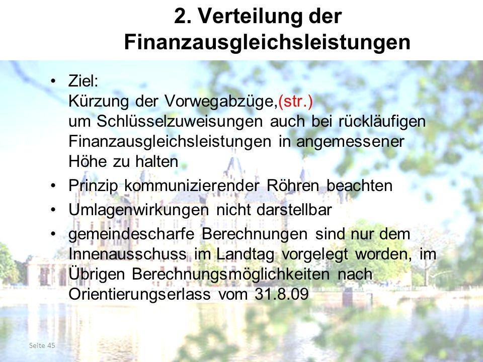 2. Verteilung der Finanzausgleichsleistungen