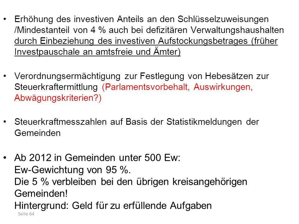 Erhöhung des investiven Anteils an den Schlüsselzuweisungen /Mindestanteil von 4 % auch bei defizitären Verwaltungshaushalten durch Einbeziehung des investiven Aufstockungsbetrages (früher Investpauschale an amtsfreie und Ämter)