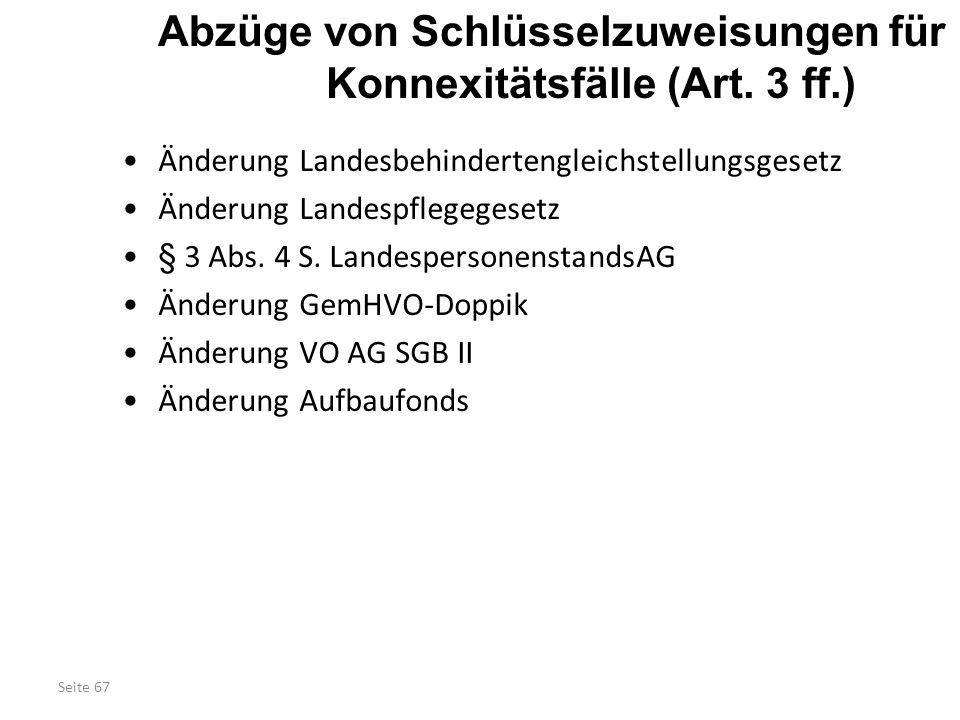Abzüge von Schlüsselzuweisungen für Konnexitätsfälle (Art. 3 ff.)