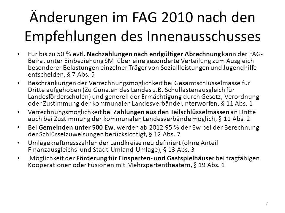Änderungen im FAG 2010 nach den Empfehlungen des Innenausschusses
