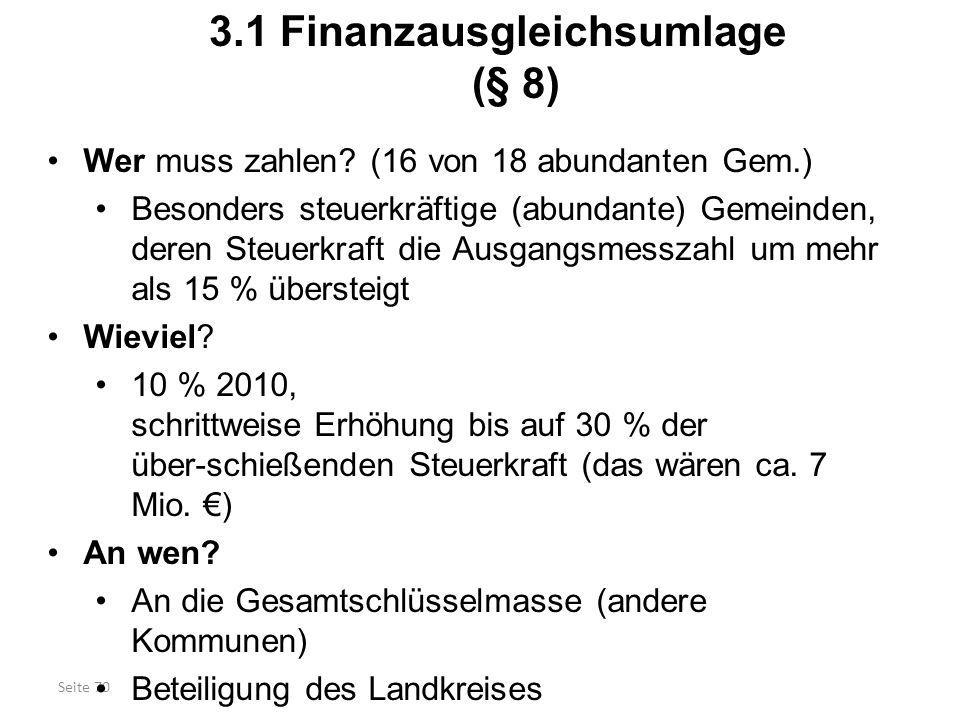 3.1 Finanzausgleichsumlage (§ 8)