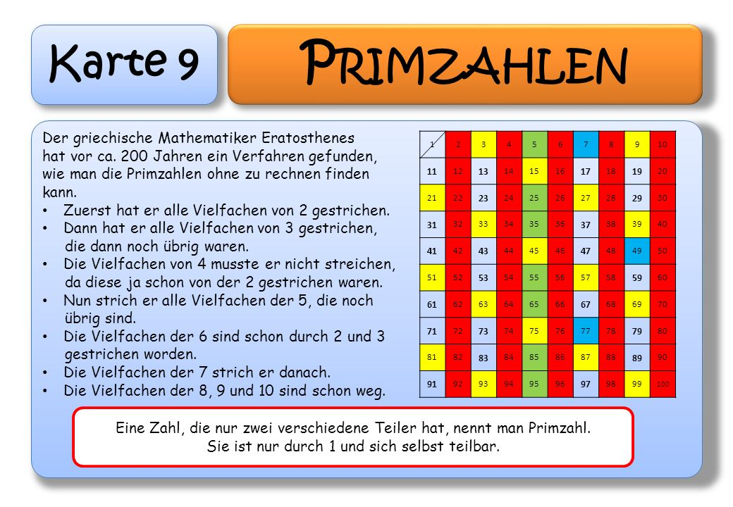 Primzahlen Karte 9 Der griechische Mathematiker Eratosthenes